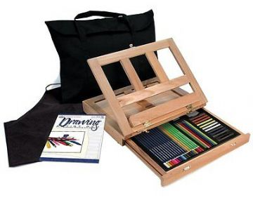ARTISTS 46PC. DRAWING EASEL ART SET WITH EASY TO STORE BAG BY ROYAL & LANGNICKEL